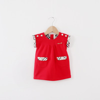 2014 New,baby girls fashion vests,children autumn outerwear,shoulder buckle,pocket,red/blue,5 pcs / lot,wholesale,1508