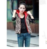 fall and winter 2014 new fashion women vest leopard casual women coat outerwear hooded J0611