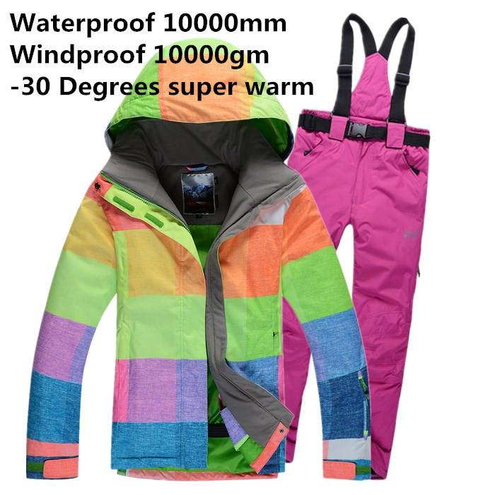 Moda delle donne tuta da sci termico set set di sci sci pantaloni top casual cotone- imbottito caldo giacca a vento impermeabile + pantaloni