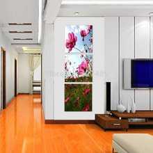 3 painel de parede arte moderna decoração pintura a óleo sem moldura cópias da lona fotos P69 rosa romântico pinturas de flores corredor(China (Mainland))