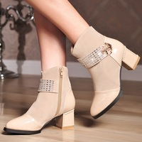 2014 autumn and winter boots pointed toe side zipper decoration metal slip-resistant women's boots