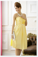 Free Shipping Uncommon Satin Solid Casual 2014 Yellow Dress