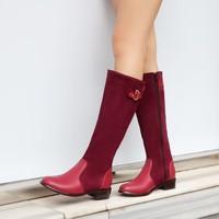 2014 color block decoration medium-leg female boots round toe low-heeled martin boots platform boots hasp boots