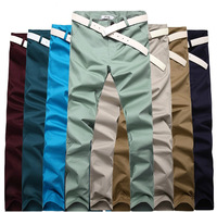 High Quality 2014 New fashion Men's Casual trousers Cotton Pure color pocket Slim pencil pants plus-size 28-33  8 Colors