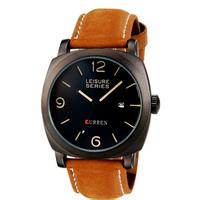 2014 New CURREN Brand Men's Military Watches 30m Waterproof Leather Strap Men Quartz Watch Sports Watches