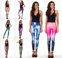 8 Colors Available Women Fashion Leggings Galaxy Leggings Black Milk Leggings Space Print Design Free Shipping Free Size