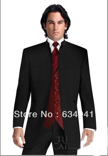 Black Suit Burgundy Vest Groom Tuxedos Mandarin Lapel Best Man Groomsmen Men Wedding Suits