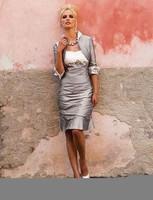 Hot sale Modern Sheath with Sleeveless Knee length  Fold  Applique Mother of the Bride Custom