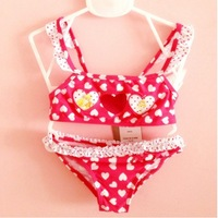 8A20067 hot sale a multi-colors dot design with a cute red dot ,two piece baby swimwear girls children and child swimsuit baby