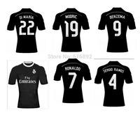 Real Madrid black soccer jersey 14 15 season best thai quality Real Madrid 2015 third away shirt BALE SERIGO RAMOS RONALDO JESE