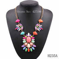 2014 newest  cheap colorful resin gold chain women choker necklace accessories for girls autumn jewelry free shipping