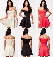 2014 New Fashion Big Swing Skater Dress Deep V Neck Summer Mini Office Lady High Street Casual Dresses Free Shipping 9081