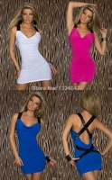 2014 New Fashion Bandage Dress Women Sexy Criss Cross Sequined Back Bodycon Mini Party Dress 9042