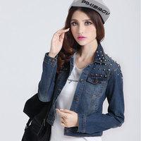 Rivet jeans jacket women camisa denim jeans feminina blusa jeans shirt jaqueta jeans coat winter plus size for women