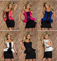 2014 Summer Dress Women Stretch Black White Pink Rose OL Career Dress Work Wear Peplum Dresses 9053