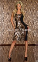 2014 New Fashion Women Summer Dress Sexy Leopard Printed Knee-Length Long Bodycon Party Dress 9032