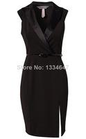Fashion Women Black Notched Neckline OL Elegant Career Dress Women Work Wear Casual Dresses with Belt Free shipping 9030