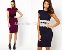2014 New Summer Dress Women Elegant Knee Length Bodycon Bandage Dresses Office Lady Pencil Work Wear 9020
