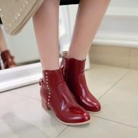 2014 fashion rivet boots thick heel punk all-match martin boots round toe platform boots