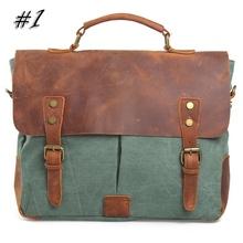 Men's Messenger Bag Retro Canvas leather patchwork  Handbag Crossbody Multifunctional laptop briefcase Free Shipping AR203(China (Mainland))