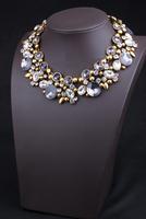 Famous Brand Vintage Golden/Gun Black Alloy Gray /blue Turquoise Rhinestone Round Crystal Flower Shourouk Choker Necklace