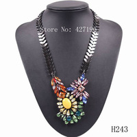2014 fashion autumn gunblack chain pendant crystal necklace jewelry for girls colorful flower necklace