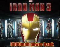 2014 newest 10sets/lot capacity Free Shipping External 8000mAhIron Man power bank for Phone PDA so on ect Christmas gift