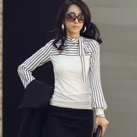 2014 New Plus Size S-XXL Women Ladies Black White Stripe Turtleneck Puff Long Sleeve Top Blouse Shirt tops t shirts