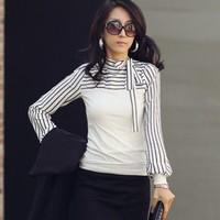2015 New Plus Size S-XXL Women Ladies Black White Stripe Turtleneck Puff Long Sleeve Top Blouse Shirt tops t shirts