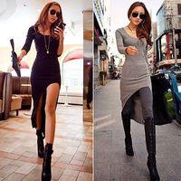 2015 New Women Sexy Slim Split Irregular Dress Dovetail Clubwear Asymmetric Hem Maxi Long Dress
