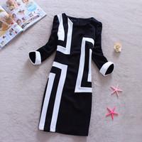 Spring and autumn fashion office ladeies elegant slim geometric  basic one-piece dresses M~3XL drop shipping