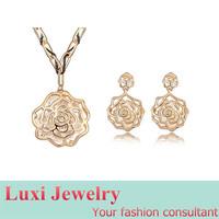 Fashion Vintage Rose Luxury  Crystal Jewelry Set Necklace Earring  Set Fashion European Statement Jewelry 2014
