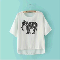 New! Summer 2014 Korean Women Casual elephant print chiffon round neck T-shirt   free shipping