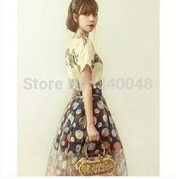 2014 summer women's short sleeve embroidery organza dress ladies vintage baroque ball gown polka dot chiffon dress free shipping