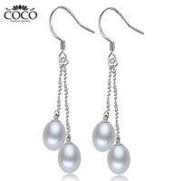 100% Natural Double Pearl Earring Teardrop White Freshwater Pearls Dangle Earrings Pure Sterling Silver  925 Fashion Jewelry