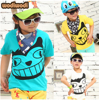 Wholesales free shipping 2014 new summer children cotton top shortsleeve tshirt baby girl boy tee kid Totoro clothing 5pcs/lot