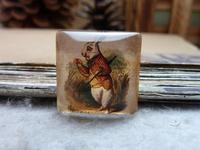 3pcs 25x25mm Handmade Square Glass Cabochon Vintage Photo Cabochon (The alice) GR3-23