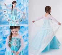 New arrivel 5pcs Children girl's 2014 summer long sleeve  frozen dress with sequins 15432