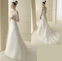 The bride wedding dress train slit neckline half sleeve 2014 vintage long trailing lace fashion bridal gowns