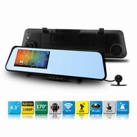 """6000B Car Rearview Mirror Car DVR Camera with Android 4.0 OS 1080P 30fps Full HD 4.3""""LCD with WIFI, GPS Navigation, Night Vision"""
