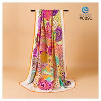 2014 Big Size 140x140cm Fashion Brand Silk Square Scarf Women   Silk Satin Scarves silk Shawl  Print High Quality #009