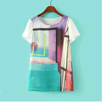 New! 2014 Summer  European and American short-sleeved  geometric pattern T-shirt free shipping