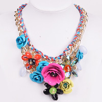 2014 New Europe America Multicolor Crystal Statement Necklace Exaggerated Big Brand Flower Chain Short Necklace Free Shipping