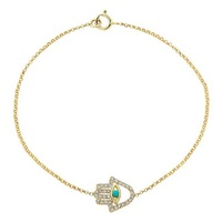 Real 14K Yellow Gold Crystal Hamsa Hand Link Chain Bracelet For Women Female Wholesale - Good Quality