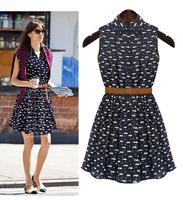 Dropshipping!2014 summer dress pastoral style floral chiffon dress woman print dress  with belt