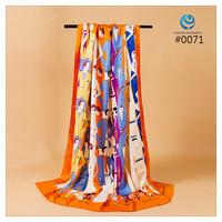 2014 Big Size 140x140cm Silk Square Scarf Women Fashion Brand High Quality Silk Satin Scarves silk Shawl Hijab Print #007