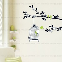 High quality! DIY KIY ROOM Removable Art Vinyl Wall Stickers Decor Mural Decal painted birds tree TC981