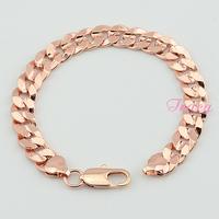 10mm Unisex Men's Womens 18k Rose Gold Filled Curb Chain Link Wide Bracelet Chain Cool Chunky Bracelet Hip Hop Style