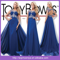 EVT32 Attractive jewel neck cap sleeve beaded ruched open back chiffon floor length royal blue prom dresses