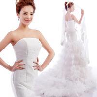 Bra straps sexy lace fishtail trailing Princess Bride Wedding dress 2014 summer dresses plus size vestidos de noiva 9288